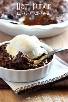 Hot Fudge Lava Cake with Ice Cream on MyRecipeMagic.com