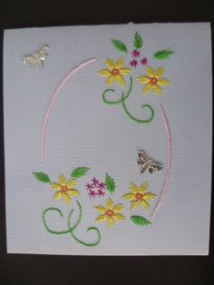 Fleurs d'été  Faite par Pascale Gagné Pillow Embroidery, Embroidery Cards, Embroidery Stitches, Embroidery Patterns, Hand Embroidery, Stitch Patterns, Fabric Cards, Paper Cards, Art Carte