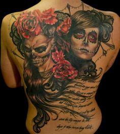 Sugar Skull back tattoo.
