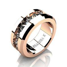 Mens Modern 14K Rose Gold Inverted Princess White Sapphire Channel Cluster Wedding Ring A1000-14KRGWS | ALEXANDRA K
