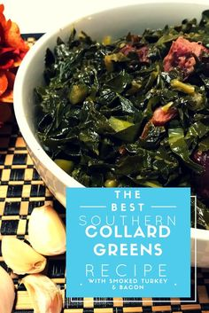 The BEST Southern collard greens with smoked turkey and bacon for Easter, Thanksgivng or Sunday dinners. Easy to make and everyone will love them. Try this collard green recipe! recipe soul food instant pot Best Collard Greens EVER! Quick Collard Greens Recipe, Crockpot Collard Greens, Cooking Collard Greens, Collard Greens With Bacon, Southern Style Collard Greens, Turnip Greens, Mustard Greens Recipe Southern, Veggie Dishes, Bacon