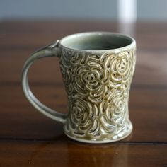 Warm Pottery Coffee Mug in Olive Green Rose Carved - Lovely - need one :)