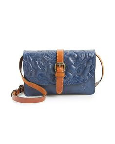 Patricia Nash Tooled Rose Italian Leather Crossbody Bag | LuckyShops