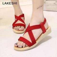 b6820118e LAKESHI Bohemia Women Sandals Flat Shoes Summer Women Shoes Fashion Rome  Casual Flip Flops Gladiator Shoes