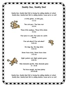 FREE: A cute poem that helps kids learn doubles. Perfect for math and poetry binders!