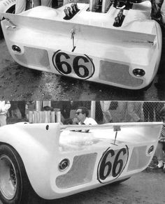 Chaparral 2C movable rear spoiler. Shown in max downforce and minimal drag positions. Because the Chaparrals didn't have a clutch pedal, the driver's left foot was free to operate the spoiler pedal. On long straight portions of the circuit, the spoiler could be feathered to reduce drag and increase max speed. Today, some exotics have automated spoilers and wings that perform very much like Jim Hall's 50 year-old concept.