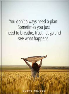 Let go Quotes You don't always need a plan. Sometimes you just need to breathe, trust, let go and see what happens.