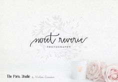 Watercolor Leafy Script Logo Design - photography logo, restaurant branding, website logo, boutique logo, creative business branding or small business logo.
