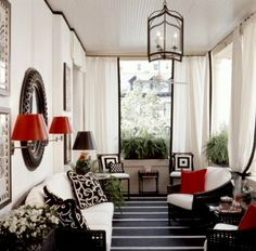 Black, White and Red Porch