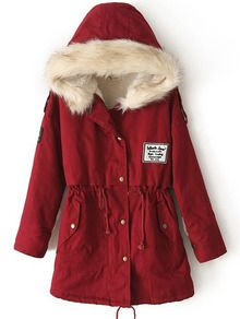 Red Fur Hooded Zipper Embellished Fleece Inside Military Coat