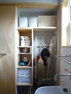 A neat broom closet Kitchen Pantry Storage, Pantry Organization, Diy Kitchen, Utility Cabinets, Utility Closet, Bathroom Plans, Organizing Your Home, Apartment Living, Mudroom