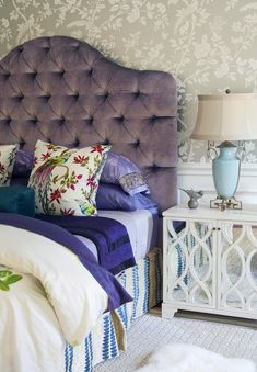 such a delicious purple tufted headboard  via