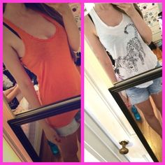 2 Racerback AE tank tops bundle price drop  2 American eagle Racerback tank tops orange size M and tiger graphic white tank size S but fits like a M as well  white tank has blue tie dye coloring when washed, still super cute and only flaw and orange is excellent condo on  both listed separate for more photos  American Eagle Outfitters Tops Tank Tops
