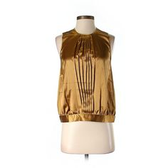 Pre-owned BCBGMAXAZRIA Sleeveless Blouse ($32) ❤ liked on Polyvore featuring tops, blouses, gold, gold sleeveless top, gold blouse, brown sleeveless top, brown blouse and gold top