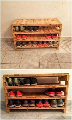 Pallet Desk with Shoe Rack Source by blancadf Wood Shoe Rack, Shoe Storage Rack, Diy Shoe Rack, Diy Rack, Shoe Racks, Shoe Rack Pallet, Shoe Rack Out Of Pallets, Shoe Storage Pallet, Small Closet Storage