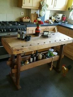Rustic-workbench-table-kitchen-island-butchers-block-prep-table-industrial …