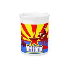Arizona State Flag Drawing Beverage Pitchers