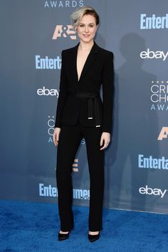 Evan Rachel Wood  in Altuzarra suit at the Critics' Choice Awards on Dec. 11, 2016 - HarpersBAZAAR.com