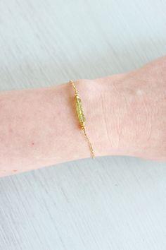 Green peridot bead bracelet - Tiny peridot rondelle bead bar gemstone bracelet - Peridot beaded bar bracelet - August birthstone bracelet