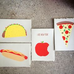 Taco, hot dog, pizza, oh my! #JunkFoodisSuperFood New cards! Screenprinted by hand on archival paper #FunCards