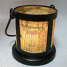 coppertronic lantern candle holder circuitboard home light upcycled art ♥♥