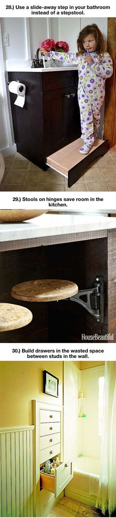 Hidden seats under a cabinet...I can see doing this with old tractor seats