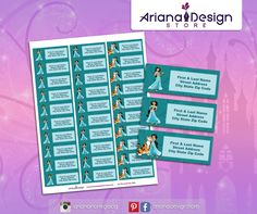 exclusive designs for invitations, party kits and labels by ArianaDesignStore Princesa Disney, Name Stickers, Label Templates, Princess Jasmine, City State, Kit, Address Labels, Free Printables, Etsy Seller