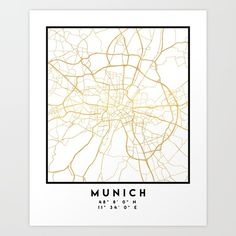 MUNICH GERMANY CITY STREET MAP ART -  An elegant city street map of Munich, Germany in gold, with the exact coordinates of the city, make up this amazing art piece. A great gift for anybody that has love for this city. You can never go wrong with gold. I love my city.  graphic-design digital typography stencil illustration munich germany downtown street map coordinates souvenir gold gift city
