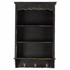 """Perfect for displaying cherished trinkets and family heirlooms, this weathered wall shelf features 3 tiers and 3 hooks for versatile storage.  Product: Wall shelfConstruction Material: WoodColor: Distressed blackFeatures:  Three shelvesThree hooksDimensions: 26.38"""" H x 16.93"""" W x 5.12"""" D"""