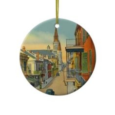 Old New Orleans French Quarter Christmas Tree Ornament
