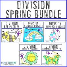 DIVISION Spring Math Puzzles | Add to a Distance Learning Packet for Home | 3rd, 4th, 5th grade, Activities, Basic Operations, Games, Homeschool, Math, Math Centers, Spring Math Games, Math Activities, Math Math, Special Education Teacher, Teacher Resources, Reading Recovery, Ell Students, Maths Puzzles, Critical Thinking Skills