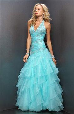 Princess Organza Beading Floor-length Graduation #Prom #Dress Style Code: 00283 $159