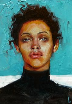 """Caribbean Blue"" - John Larriva, oil on hardboard, 2015 {contemporary #expressionist art female #impasto woman face portrait painting} larriva.blogspot.com"