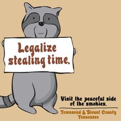 Legalize stealing time | The Peaceful Side of the Smoky Mountains http://www.smokymountains.org/