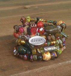 Dreamscapes: Five Wrap Memory Wire Beaded Bracelet on Etsy, $40.00