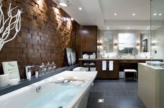 Drool, drool, drool.  It is the thing to do. (Candice Olson bathroom design from Candice Tells All).  The wooden wall is from the Jamie Beckwith Collection.