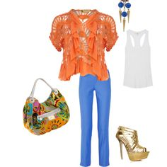 """orange and blues"" by maryoldani on Polyvore"