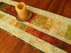 Batik Fall Leaves Quilted Table Runner or Wall Hanging, Turning Autumn Leaves…
