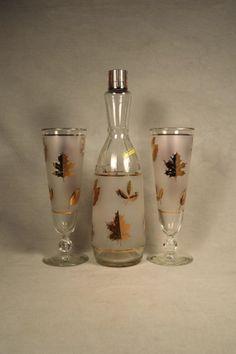Toasting Flute Pilsner Libbey Gold Leaf Glasses & Decanter