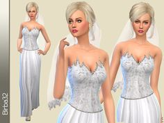 The Sims Resource: Morgana Wedding Dress by Birba32 • Sims 4 Downloads