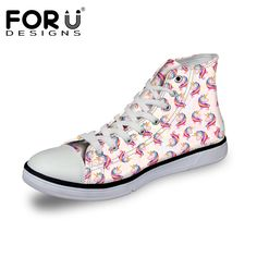 FORUDESIGNS Hot Sale 3D Unicorn Design Women Vulcanize Shoes Classic High Top Shoes for Ladies Flats. Click visit to buy #Women #Vulcanize #Shoes #WomenShoes #VulcanizeShoes