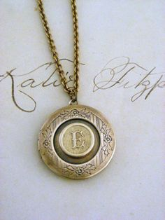 Locket Necklace  Initial Letter E  Vintage by chloesvintagejewelry, $39.50