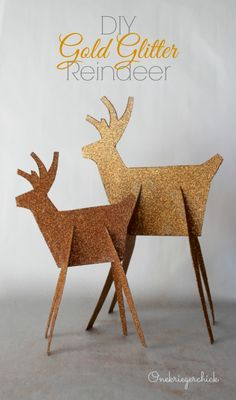 DIY Gold Glitter Reindeer-this one is made of Cardboard. Pinning for a template for HONEY to make some of Wood for Next Christmas:-)...Oh Honey!