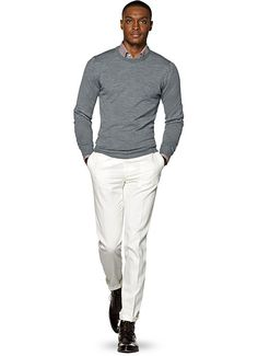 Grey Crewneck Source by caballero Mens Smart Casual Outfits, Casual Wear For Men, Cool Outfits, Fashion Outfits, Mens Office Fashion, Men Suit Shoes, Grey Sweater Outfit, Moda Formal, Business Casual Outfits