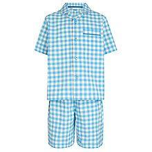 Buy John Lewis Boy Gingham Short Pyjamas, Blue/White Online at johnlewis.com