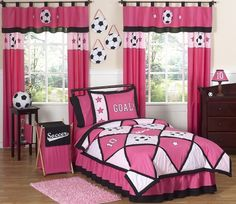 Girls Soccer Childrens Bedding - 4 pc Twin Set Sweet Jojo Designs Pink and Black Soccer 4 pc. Twin Bedding Ensemble will add instant Sporty style to your girls room. This Soccer themed children's bedding set combines the colors of Pink and Black, u. Pink Comforter Sets, Pink Bedding, Bedding Sets, Luxury Bedding, Queen Bedding, Twin Comforter, Black Comforter, Floral Comforter, Baby Bedding