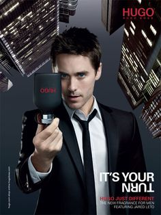 Jared Leto ad campaign for Hugo Boss - when I first saw this on the high street I stopped dead and lost the power of speech. Just lush! Jonathan Rhys Meyers, Perfume Hugo Boss, Hugo Boss Cologne, Jared Leto, Zac Efron, Vintage Logos, High School Musical, Orlando Bloom, Look Alike