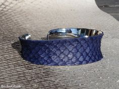 Ocean blue salmon fish leather cuff, silver cuff, salmon leather bangle, open…