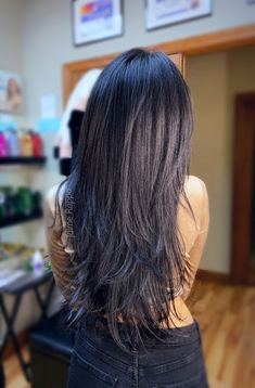 Long thick brunette hair layered haircut glazed with Redken shades EQ Dark Brown Long Hair, Hair Color Experts, Color Correction Hair, Long Brunette Hair, Redken Shades, Long Layered Haircuts, Trending Haircuts, Long Hair Cuts, Cool Hair Color