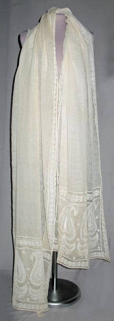 Shawl. Cotton muslin, white embroidery. India, circa 1806.